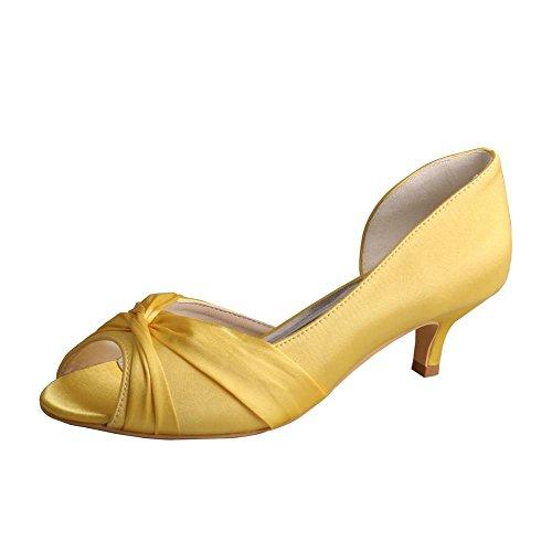 Wedopus MW632 Women Satin Prom Cross Strap Peep Toe Low Heels Pumps Wedding Evening Court Shoes Yellow H0GG9WkO