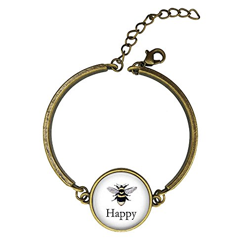 Woman Lithograph - LAROK WAZZIT Adjustable Bangle Bracelet BEE Happy Vintage Bee Lithograph Honeybee with Round Charm Glass Pendant for Women Girls Gift