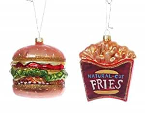 Fast Food Burger and Fries Christmas Ornament Set Glass
