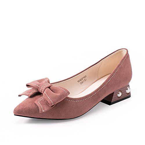 Damen Dünne Schuhe,Heels,Schmetterling Knoten Flach Mund Grobe Ferse Schuh,Strass Studenten Spitze Schuhe-B Fußlänge=24.3CM(9.6Inch)