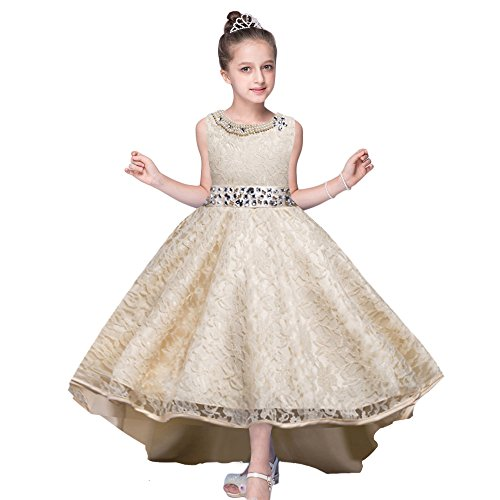 HUANQIUE Girls Wedding Pageant Dress Hi-Low Lace Bridesmaid Flower Girl Dresses Champagne 5-6 Years -
