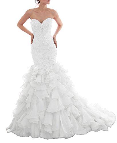 Tsbridal Beaded Mermaid Wedding Dress 2017 Sweetheart Ivory Wedding Gowns-US14