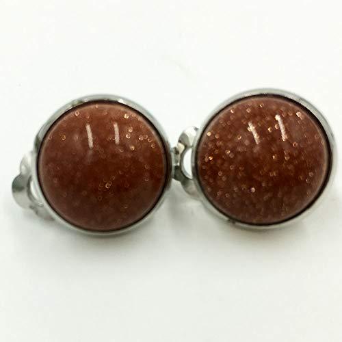 Clip Goldstone - Jewelry58718 Fashion 7mm Lapis Lazuli Round Clip Earrings (Goldstone C6993)