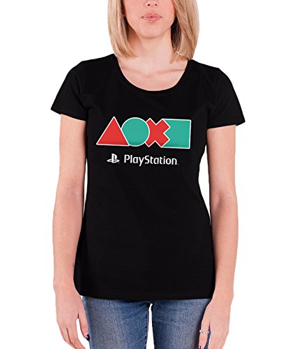 Price comparison product image Playstation T Shirt Button Icons new Official Womens Junior Fit Black