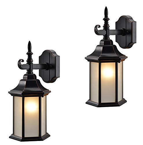 Hardware House 19-2132 Oil Rubbed Bronze Outdoor Patio / Porch Wall Mount Exterior Lighting Lantern Fixtures with Frosted Glass - Twin Pack