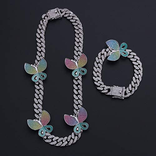 ISMILE Collar + Reloj + Pulsera Hip Hop Curb Chain Color Dorado con Diamantes De Imitación Pavimentados Cz Rapper Jewelry para Hombres