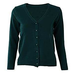 SODIAL(R) Dark Green Women Knitted Sweater V-neck Long Sleeve ...