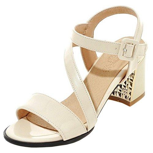 RAZAMAZA Mujer Moda Slingback Correa de tobillo Sandalias Tacon Ancho Zapatos Beige