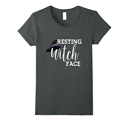 Womens Funny Halloween Shirt Resting Witch Face Mom Wife Bestie Medium Dark Heather (Halloween Shop Nyc)