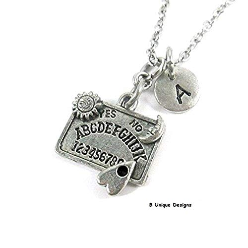 Quija Board Talk to Spirits of the Dead, Ghosts Necklace Occult Personalized Initial Add Name Jewelry Antiqued Silver Black
