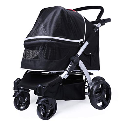 Jlxl Luxury Pet Travel Stroller, Multifunction High Landscape Go Out Cart Aluminum Alloy Storage Bag for Foldable Wear Resistant Safety (Color : Black) - Tessuto Black Bag