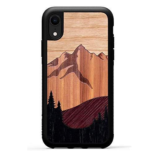 (Carved - iPhone XR - Luxury Protective Traveler Case - Unique Real Wooden Phone Cover - Rubber Bumper - Mount Bierstadt)