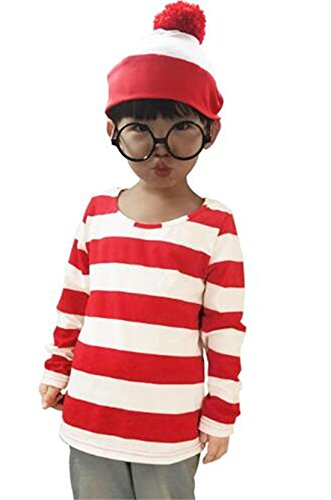 Where's Waldo Costume Kids (Toddler Kid's Where's Waldo Now Costume Adult Funny Sweatshirt Hoodie Outfit Glasses Hat Cap Suits (Medium))