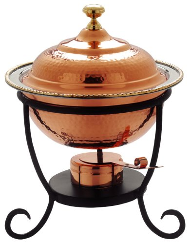 Round Copper Chafing Dish - Old Dutch 12¿ x 15¿ Round Decor Copper Chafing Dish,  3 Qt