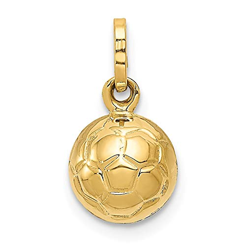 Solid 14k Yellow Gold 3-D Soccer Ball Pendant Charm (8mm x 13mm) ()