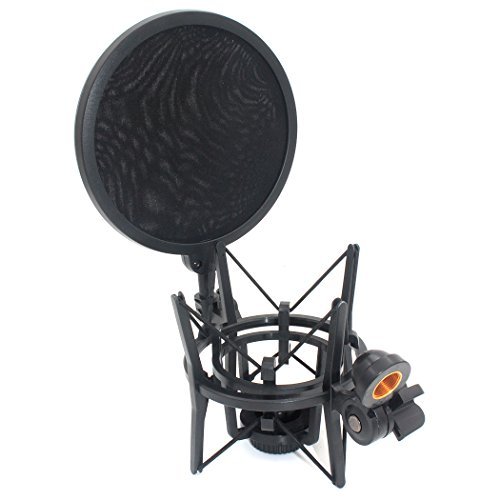 ZRAMO SH101 Integrated Shock Mount with Pop Filter for Large Diameter Condenser Microphone for MXL 990 MXL 770 for CAD GXL2200 and AKG P420 Mics