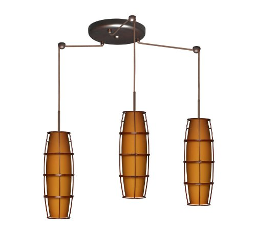 Besa Lighting 3BC-412180A-BR Tutu 3-Light Pendant, Amber Matte Art Glass Shades and Accessory Cage A with Bronze (Amber Matte Tutu)