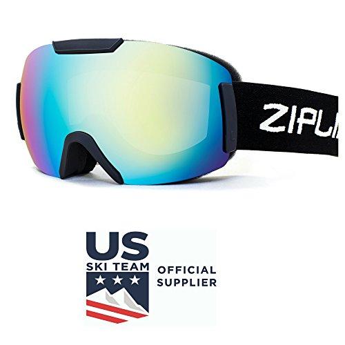 Us Olympic Ski Team (Zipline Podium ST Ski / Snowboard / Snowmobile Goggles - No Fog - Interchangeable Lenses - US Freestyle Ski Team Official Supplier (Black Frame, Gray Lens / Tropical Blue Finish))