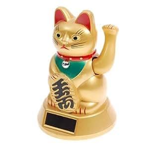 Japanese Maneki Neko Fortune Cat Lucky Cat Gold Solar Powered Waving Arm, 5-Inches