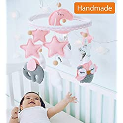 Baby Mobile Felt Nursery Crib Mobile Handmade Baby Shower Gift for Girl (Pink Gray)