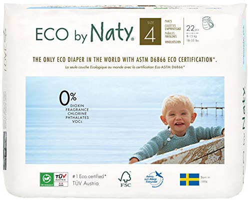 Eco by Naty Premium Pull On Pants for Sensitive Skin, Size 4 (22 Diaper Pants)