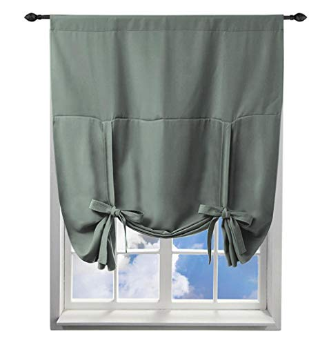 86 York Tie Up Roman Shade for Small Window, Window Valance Balloon Blind 1 Panel Grey (For Patio Doors Argos Blinds)