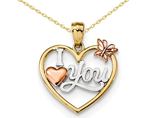 I Love You Heart with Butterfly Pendant Necklace in 14K Yellow & Rose Gold from Gem And Harmony