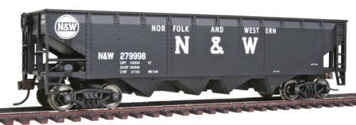 - Walthers Trainline 40' Offset Quad Hopper with Metal Wheels Ready to Run N&W
