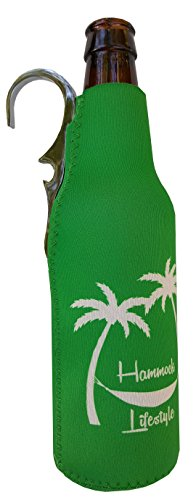 CoozieClaw Unique Bottle Cooler with Built in Hook and Bottle Opener Fun Gift #1 Hanging Bottle Holder Easily Hang Your Cold Beer Bottle Sleeve Anywhere (1, Green With Logo)