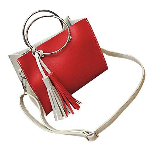 ESAILQ Cuero Bolso de Hombro Bolsa De Mochila Multiusos Baratos Para Movil Mujer Niñas R Rojo
