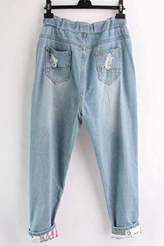 Donna Tasche Elastico Frontali Vita Con 20 Da Pantaloni Jeans Denim In Coulisse Casual Azzurro Anni Strappati Esterno px0zndqnwA