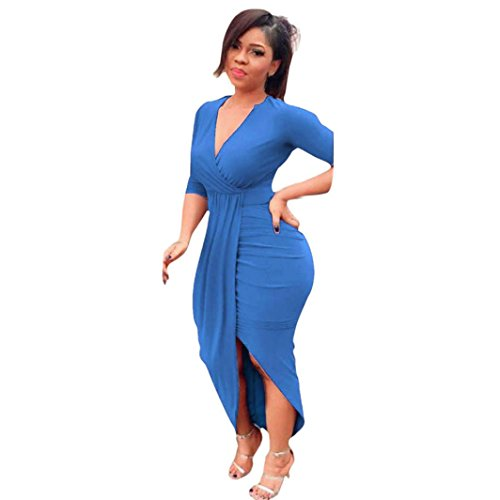 Women Dress Daoroka Women's Sexy Deep V-Neck Bandage Bodycon Casual Long Sleeve Pleated Party Evening Slim Sheath Knee Length Skirt Ladies New Fashion Spring Autumn Novelty Dress (L, Blue) by Daoroka Women Dress