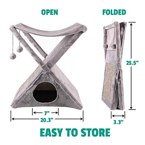 Ruff 'n Ruffus Foldable Cat Tower Tree + Free Bonus Handheld Chase Toy + 6 Cat Toys | Plush Folding House with Hammock | Condo | Scratching Pad | & Play Balls | for Kittens | Medium & Large Cats 3