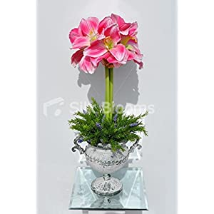 Elegant Artificial Pink Amaryllis, Fern and Heather Floral Display w/ Grecian Vase 85