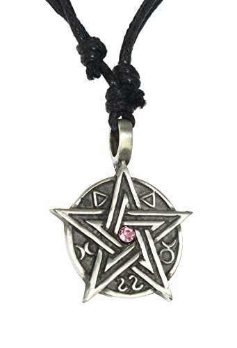 Pewter Pendant Cord Necklace - NG Wiccan Pewter Mystic Pentacle Pendant On Adjustable Black Cord Necklace. Style H