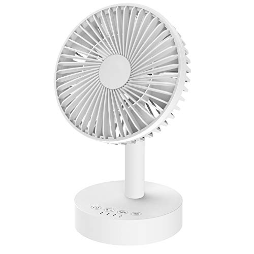 Goutoday Desk Fan,Battery Operated USB Power Air Circulator Fan,Portable Oscillating Cooling Fan with Quiet Directable Airflow,3 Speed Control Timer Adjustable Angle,USB or 18650 Rechargeable Battery