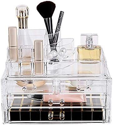 LDG Joyería Caja Almacenaje Acrílico Cosméticos Lápices Labiales Maquillaje Organizador Transparente Apilable 4 Cajones: Amazon.es: Hogar