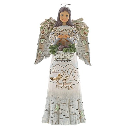 Enesco Jim Shore Heartwood Creek White Woodland Angel w/ Basket