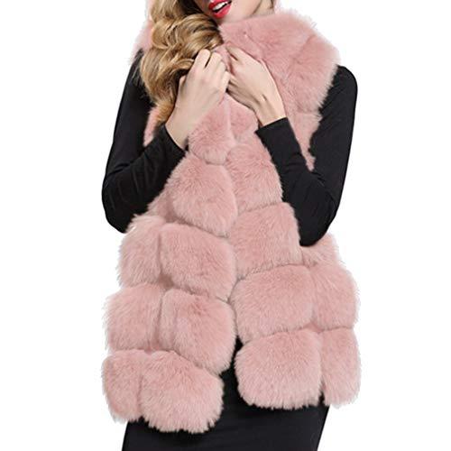 Manteaux Gilet Longue xxxxl Élégant Chaud Pour Manteau Sans De Faux Outwear Veste Fourrure Rose S Manches Fausse Hauts Long Femmes D'hiver dqI1wOd