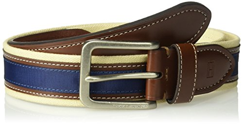 Tommy Hilfiger Men's Ribbon Inlay Belt - Fabric Belt with Single Prong Buckle, Khaki/Brown/Navy, 38 (Fabric Mens Belt)