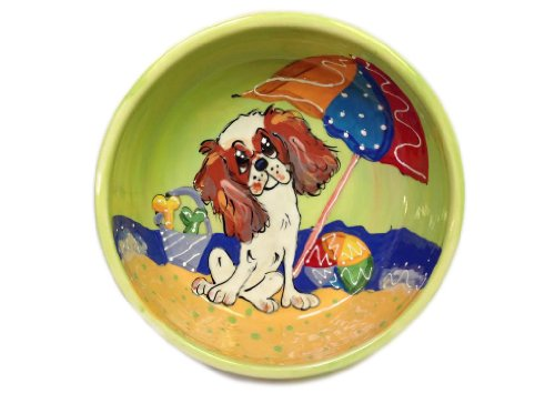 Cavalier King Charles Dog Food and Water Bowl. Personalized at no Charge. Signed by Artist, Debby Carman. Review