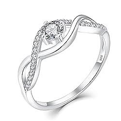 YL Damen Ring Silber Verlobungsring Ehering Zirkonia Silberringe Trauringe Hochzeitsringe Antragsring Ringe