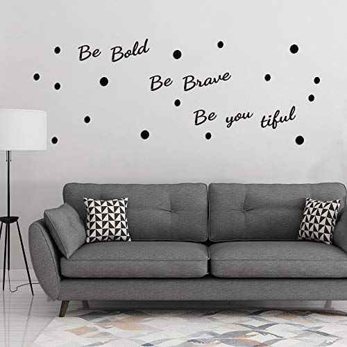 ATFUNSHOP Inspirational Quote Be Bold Be Brave Be You Tiful with Polka Dot Home Mural Wall Art Sayings Acrylic Stickers Décor Decals for Bedroom Living Room Self-Adhesive Removable DIY Decoration