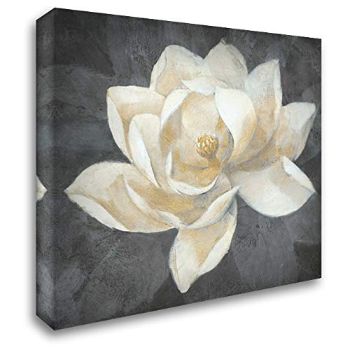 Majestic Magnolia Neutral Sq 28x28 Gallery Wrapped Stretched Canvas Art by Hristova, Albena