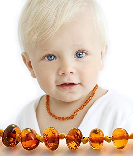 (Authentic amber teething necklace – Baltic amber necklace - Baby teething beads necklace & Bracelet - Teething necklace amber - Real amber teething necklace - Anti Inflammatory Pain Reduce)