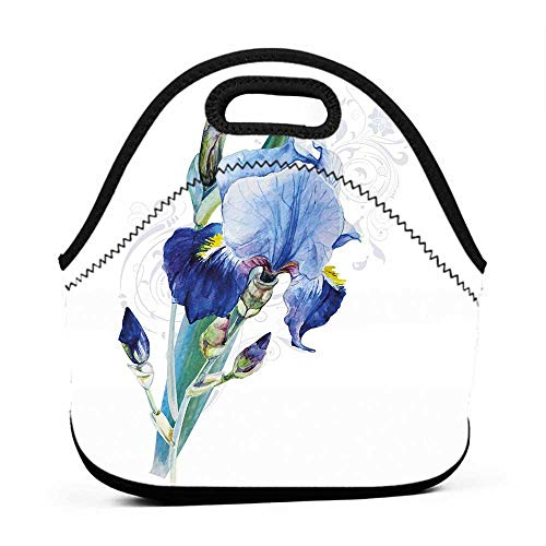 Rugged Lunchbox Flower,Shabby Chic Irises Bouquet Elegance Petals Botanic Beauty Florets Watercolor Art,Navy Blue Teal,men lunch bag for work insulated