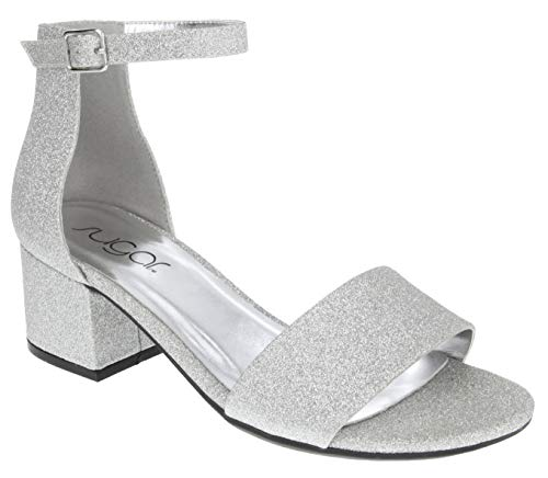 Sugar Women's Noelle Low Two Piece Block Heel Dress Shoe Ladies Ankle Strap Pump Sandal Silver Glitter 8.5