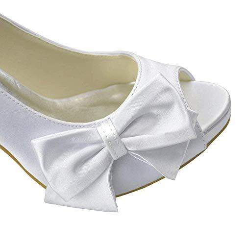 Da Qiusa Sposa Moda In colore Con 7 Dimensione Donna Bianco Sposa Raso Fiocco Sandali Uk 5wfqrwHWA
