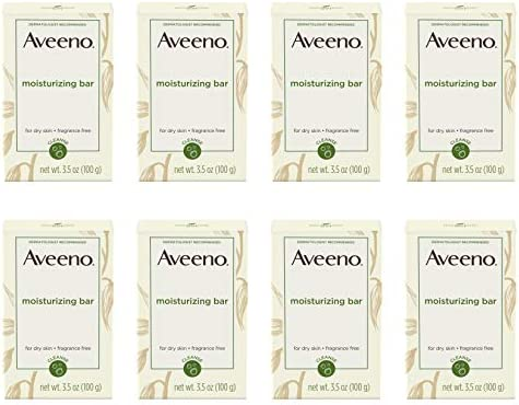 Aveeno Gentle Moisturizing Bar Facial Cleanser with Nourishing Oat for Dry Skin, Fragrance-free, Dye-Free, Soap-Free, 3.5 oz pack of 8