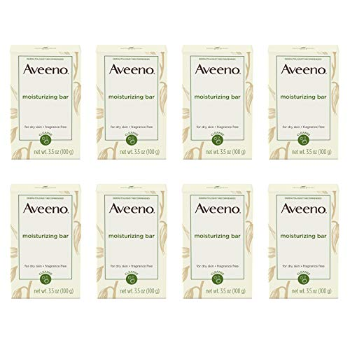 Aveeno Gentle Moisturizing Bar Facial Cleanser with Nourishing Oat for Dry Skin, Fragrance-free, Dye-Free, & Soap-Free, 3.5 oz  pack of 8